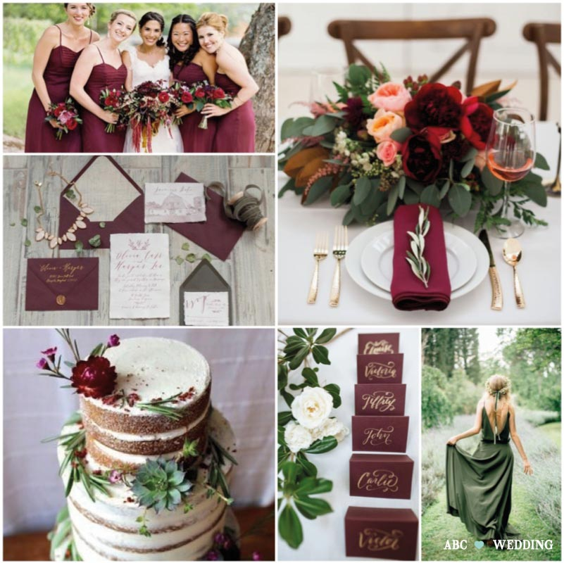 Tema Matrimonio 2018 : Colori matrimonio bordeaux collection